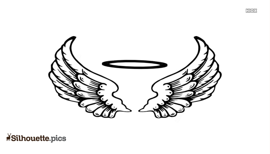 Angel Halo With Wings Silhouette