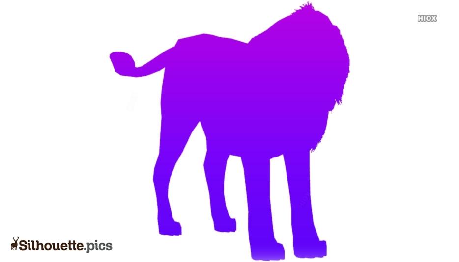 Asiatic Lion Silhouette Art