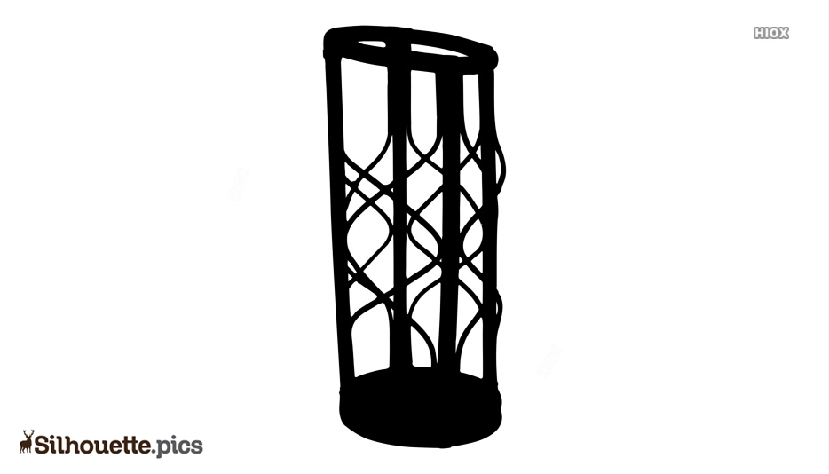 Bamboo Umbrella Stand Silhouette Image