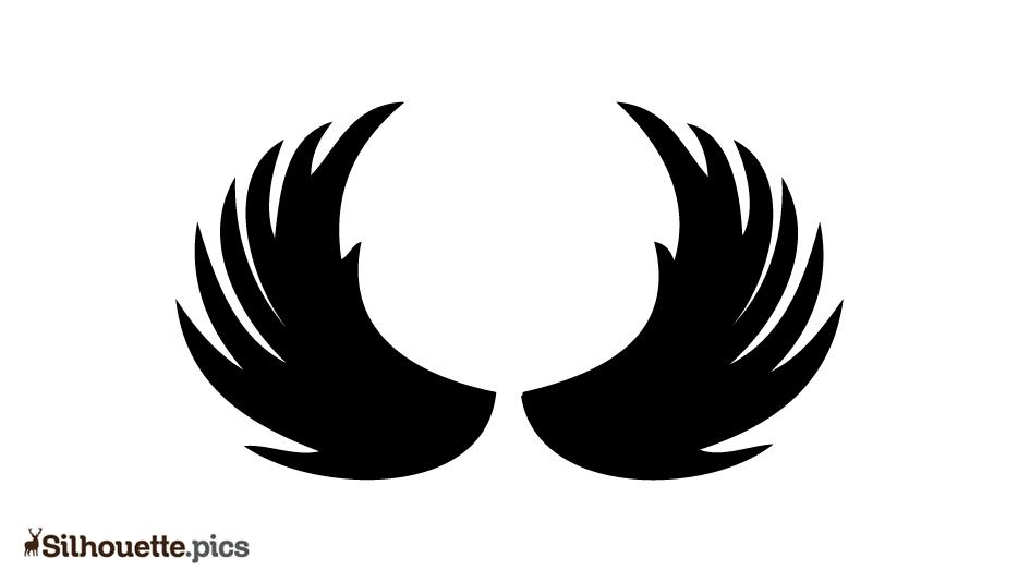 Beautiful Angel Wings Vector Silhouette Image