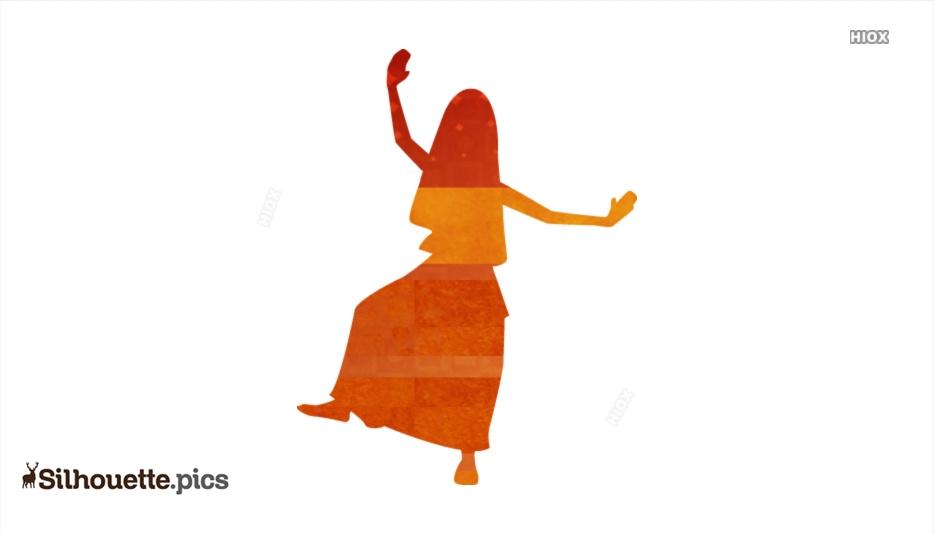 colorful bhangra dancer silhouette