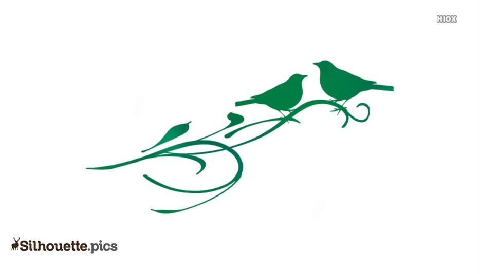 Birds On Branch Silhouette Free Vector Art