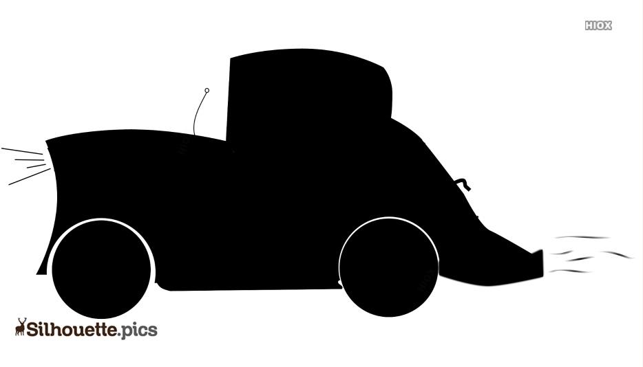 Black And White Cartoon Car Silhouette