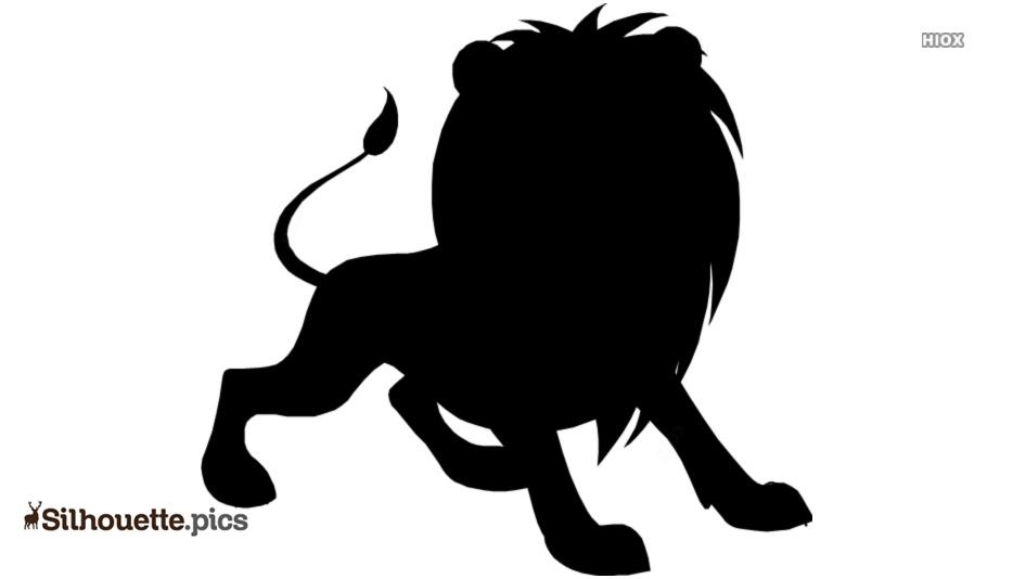 Black And White Cartoon Lion Silhouette
