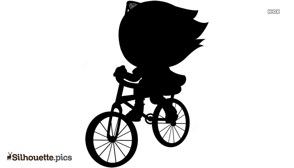 Black And White Girl Riding Cycle Silhouette