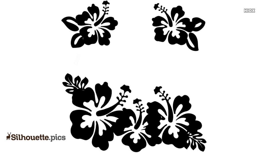 Black And White Hawaiian Flower Silhouette