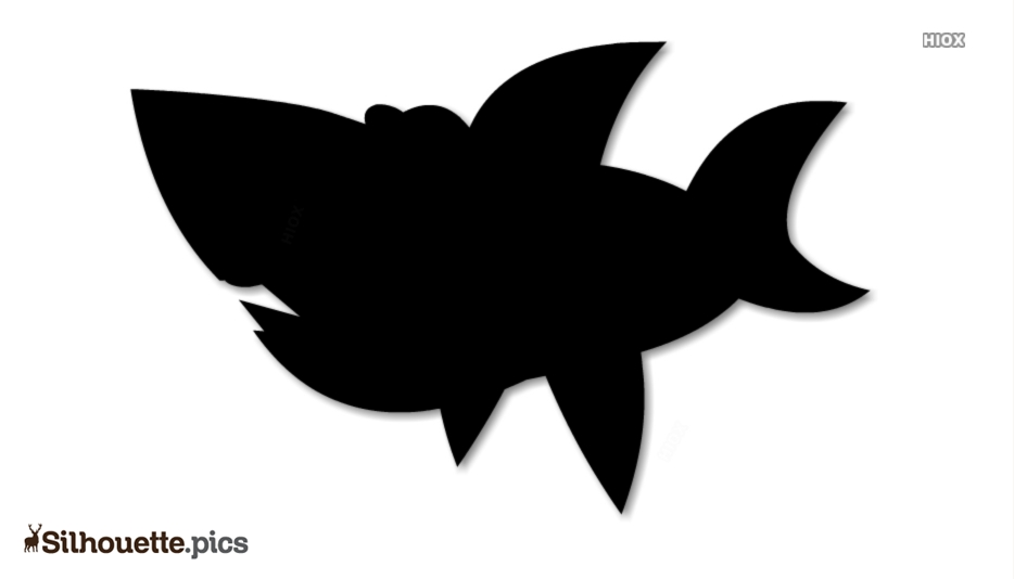 Black And White Shark Cartoon Art Silhouette