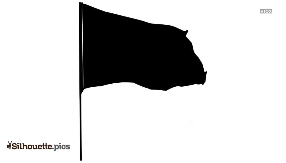 Black And White Waving Flag Silhouette