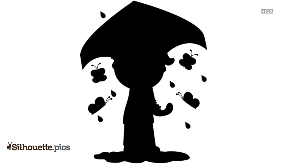 Black Cartoon Boy With Umbrella Silhouette Image
