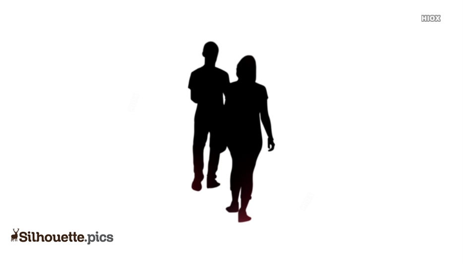 Black Couple Walking Silhouette Image