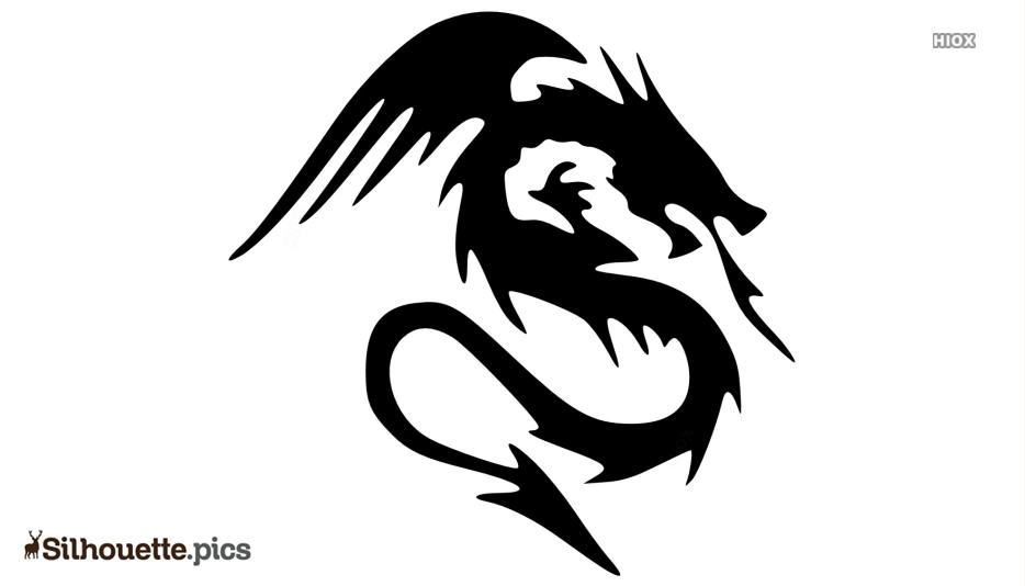 Black Dragon Silhouette Black And White