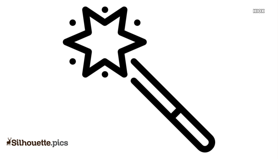 Black Magic Wand Icon Silhouette Image