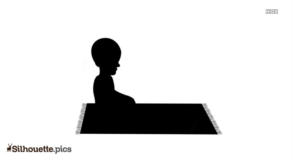 Black Muslim Men Praying Silhouette