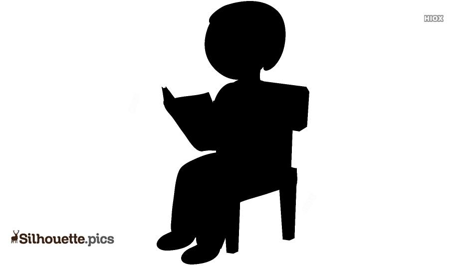 Boy Reading Book Vector Silhouette