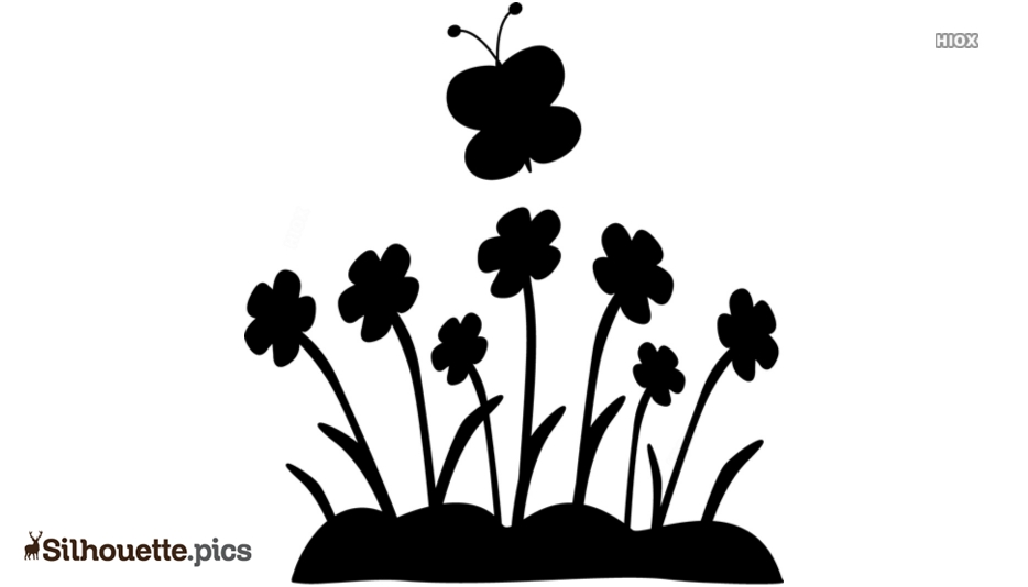 Butterflies And Flowers Silhouette Clip Art