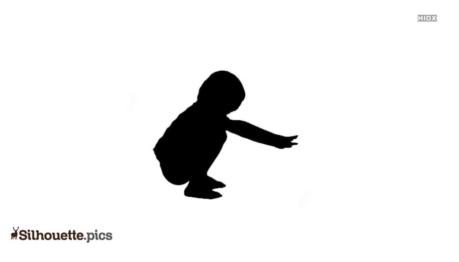 Cartoon Baby Squatting Silhouette