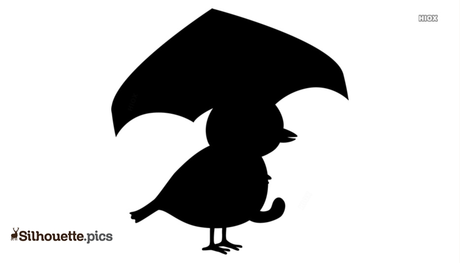 Cartoon Bird With Umbrella Silhouette