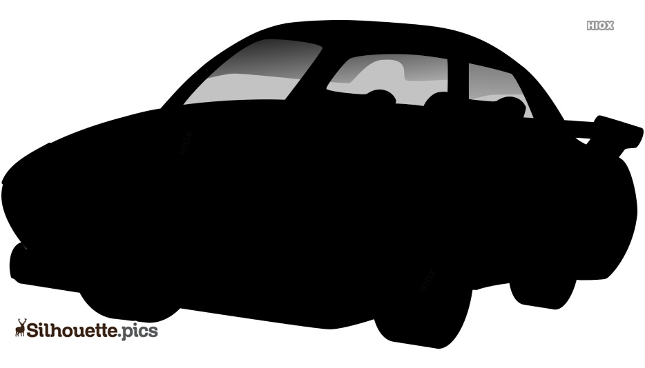 Cartoon Car Black And White Silhouette