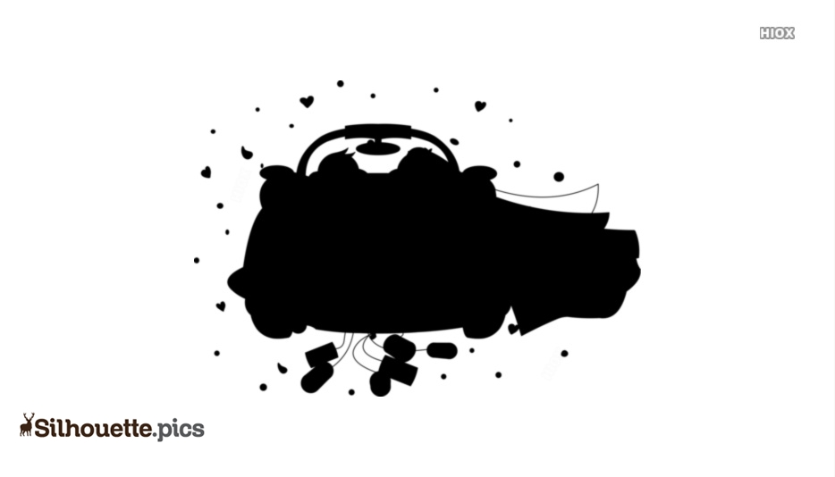 Cartoon Car Getting Married Clipart Silhouette