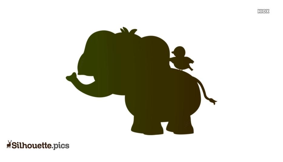 Cartoon Elephant With Bird Silhouette