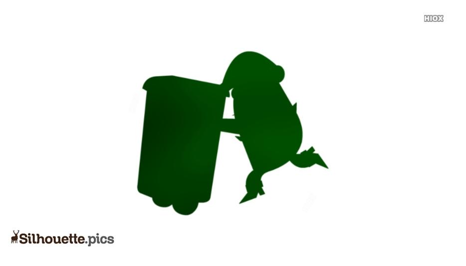 Cartoon Garbage Man Pulling Trash Can Silhouette