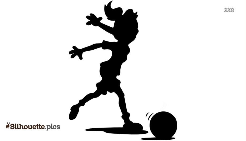 Cartoon Girl Playing Soccer Silhouette