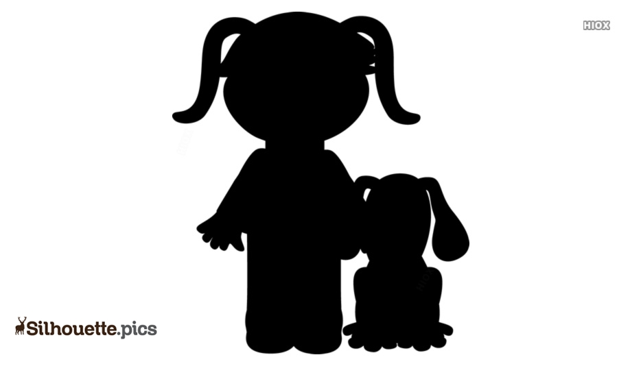 Cartoon Girl With Dog Silhouette