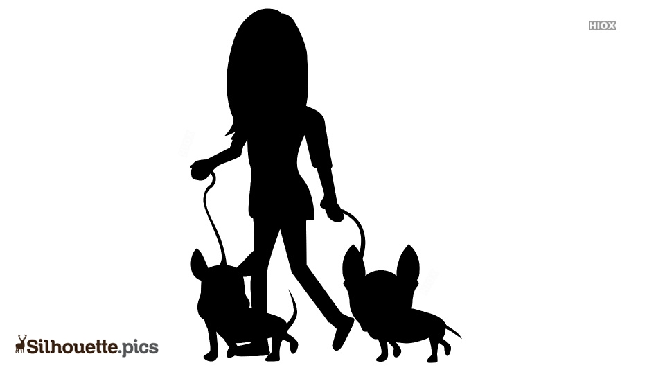 Cartoon Girl With Dogs Silhouette