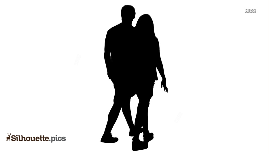 Cartoon Happy Couple Silhouette