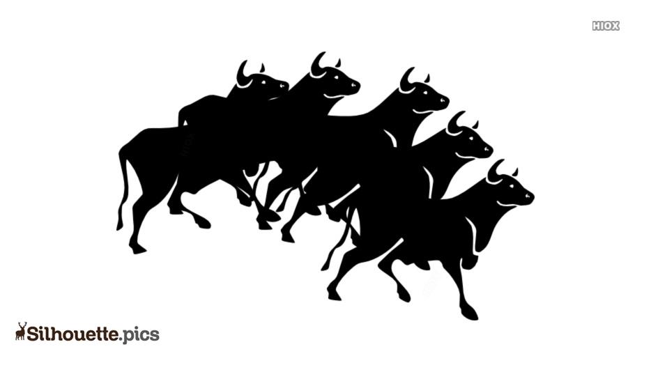 Cartoon Herd Of Cattle Silhouette