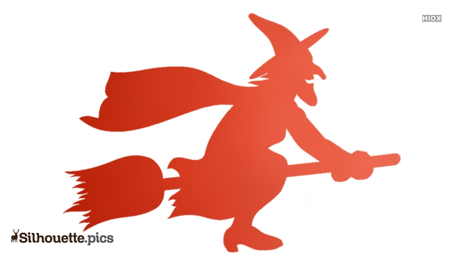 Cartoon Witch Flying Broom Silhouette