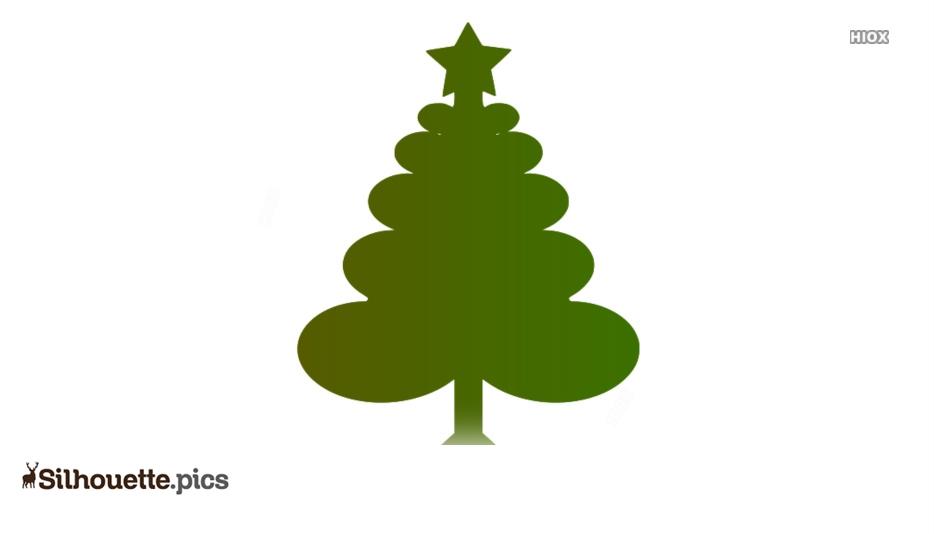 Cartoon Xmas Tree Silhouette Drawing Image