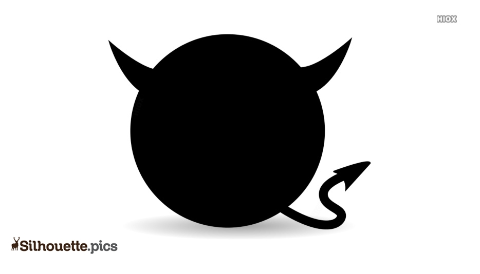 Catoon Devil Black and White Silhouette