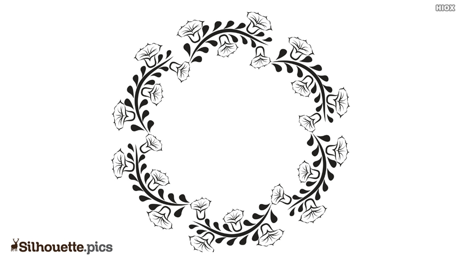Silhouette Of Circular Floral Frame