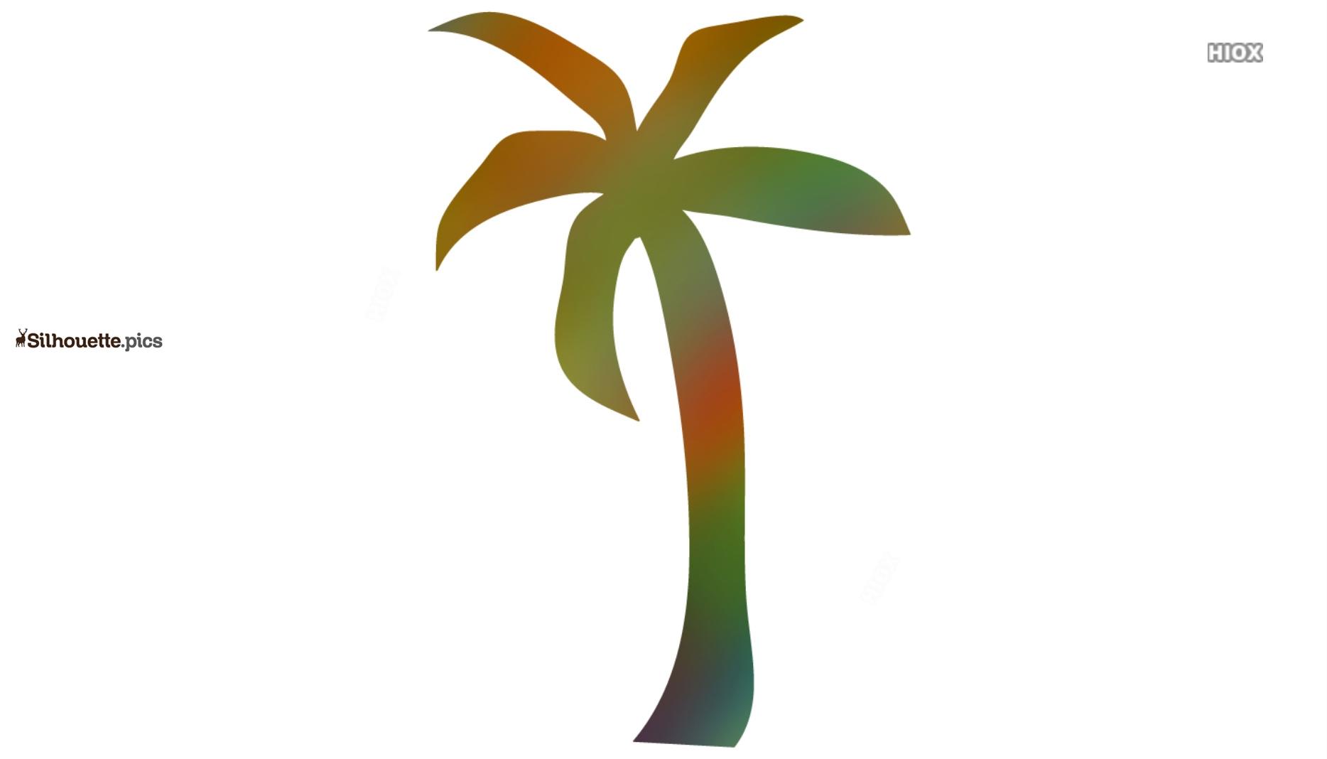 Coconut Tree Colorful Silhouette