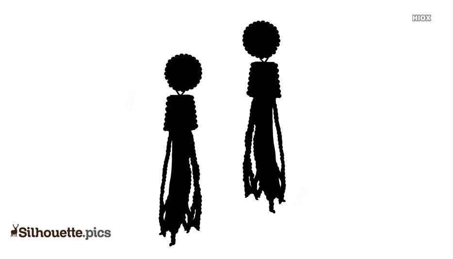 Coral Tassel Earrings Silhouette