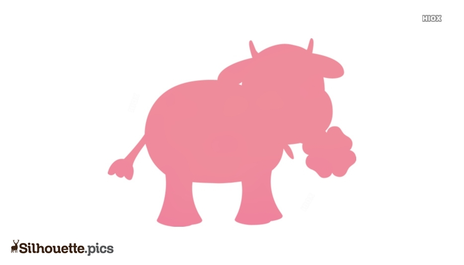 Cow Cartoon Silhouette, Farm Animal Clipart Icon