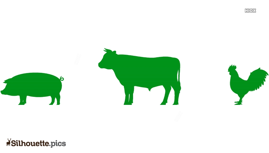 Cow Pig Chicken Silhouette Icon