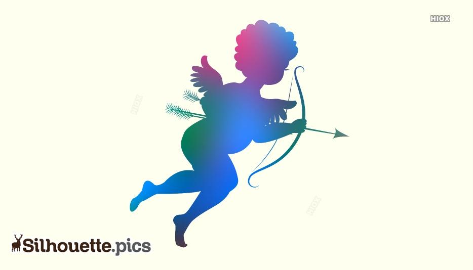 Cupid Silhouette Bow Arrow