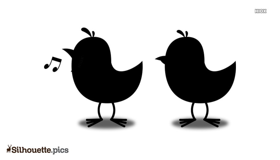 Cute Cartoon Birds Silhouette Background