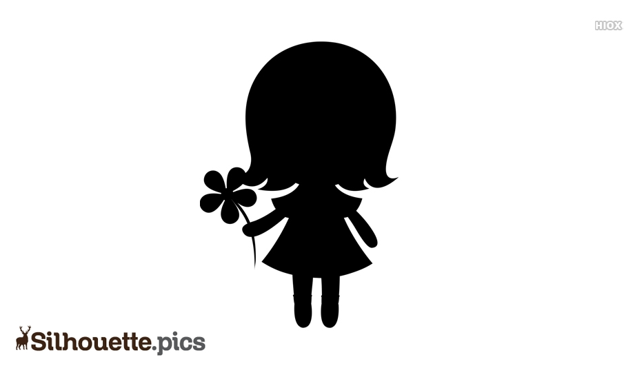 Cute Cartoon Girl With Flower Silhouette Vector