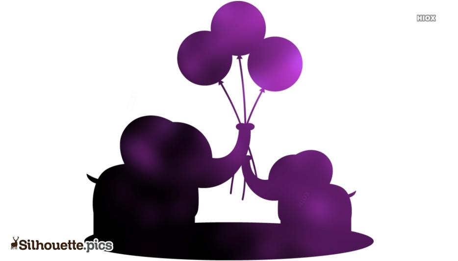 Cute Elephants Holding Balloons Silhouette