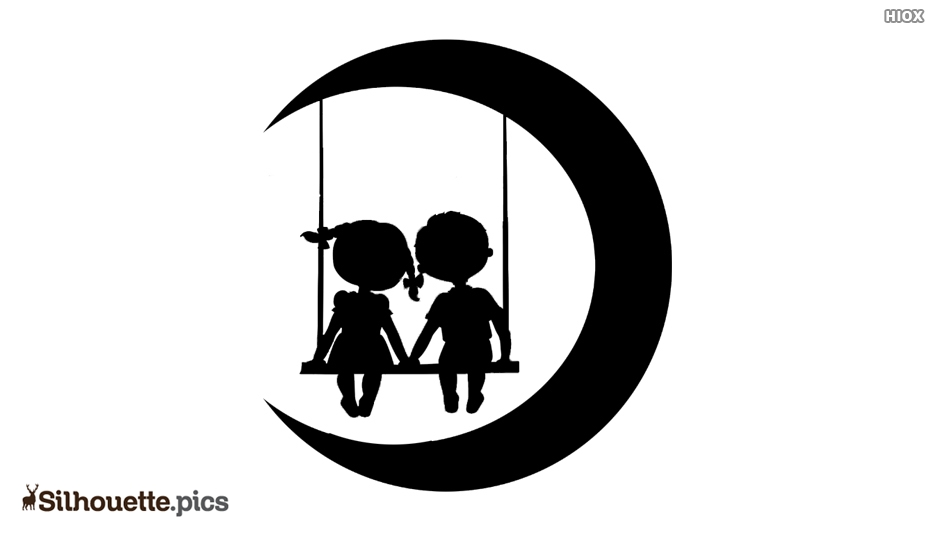 Silhouette Of Cute Little Couple On Moon