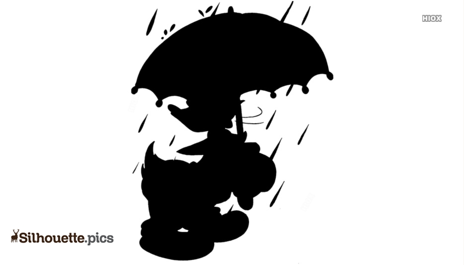 Donald Duck With Umbrella Silhouette