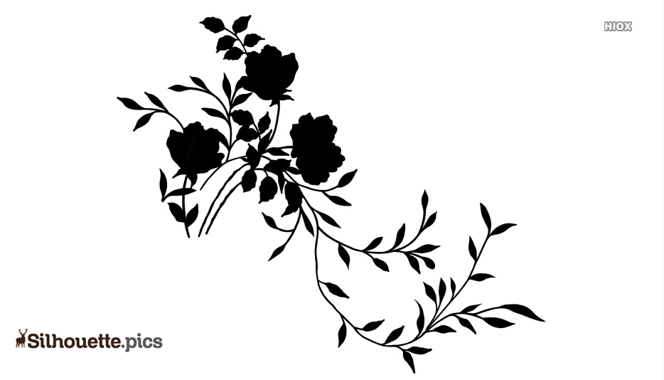 Floral Decor Black And White Clipart