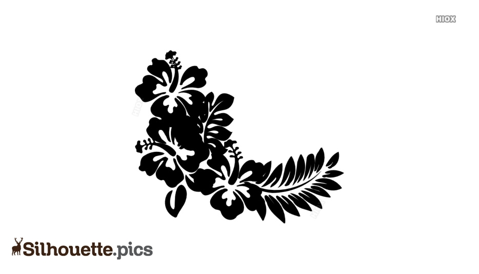 Floral Hibiscus Flowers Vector Clipart Silhouette