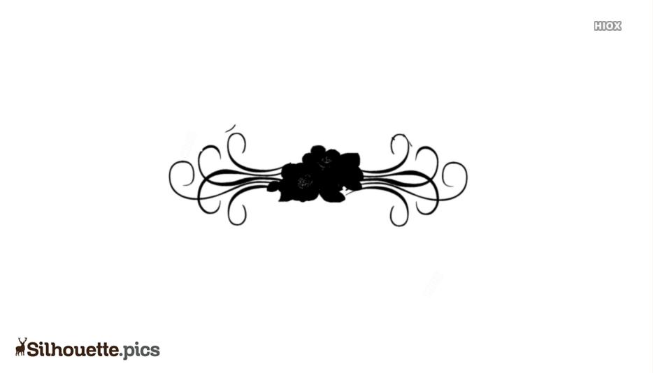 Flower Border Silhouette Clip Art Drawing