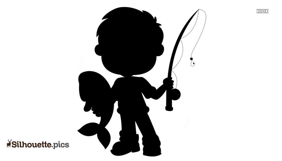 Free Cartoon Boy Fishing Silhouette Silhouette Pics