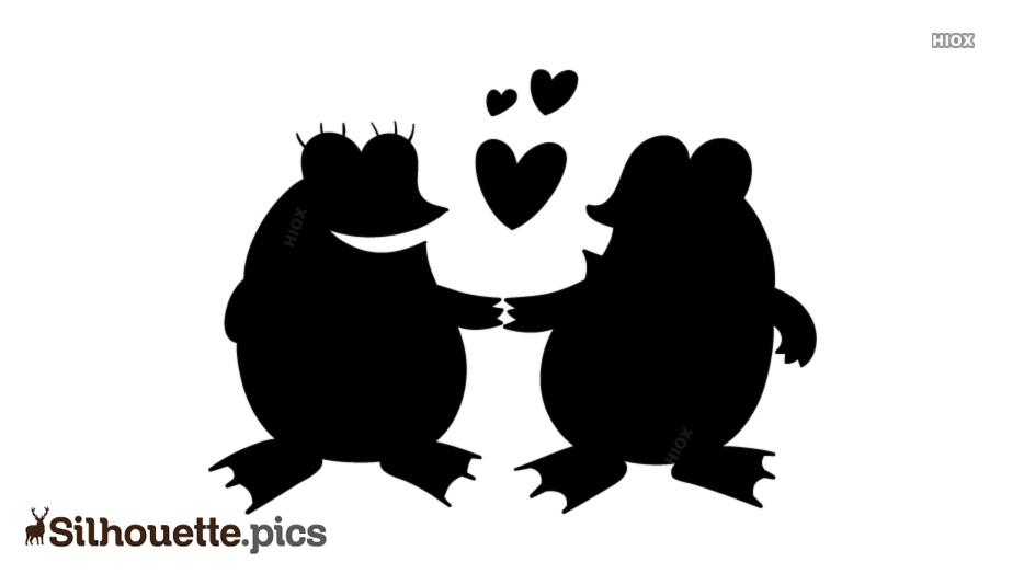 Frogs In Love Cartoon Silhouette