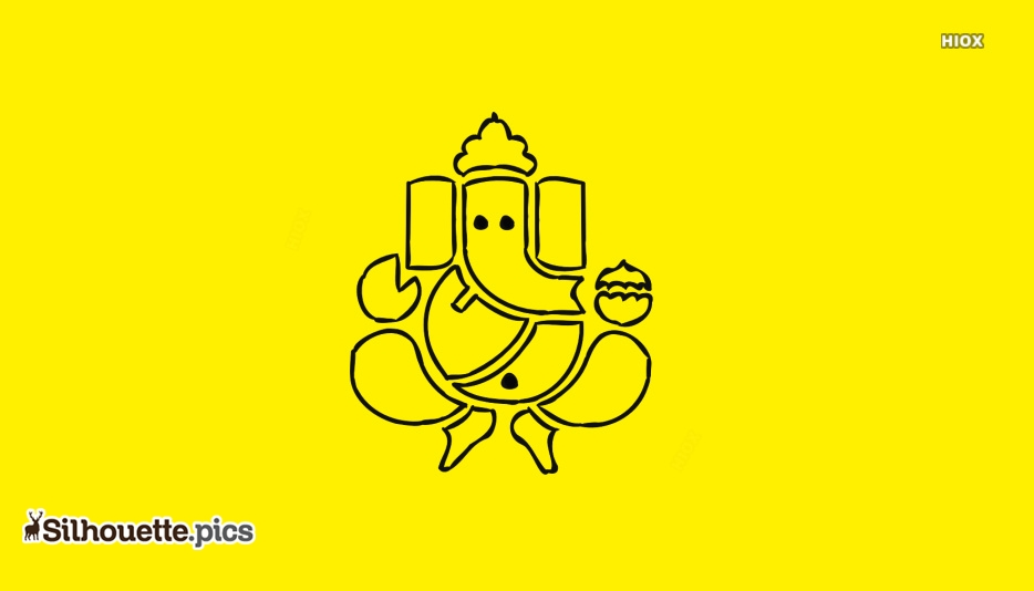 Lord Ganesh Outline Silhouette Clipart